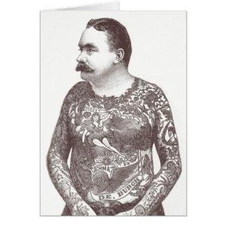 Cartão Cara Tattooed do Victorian com Moustache