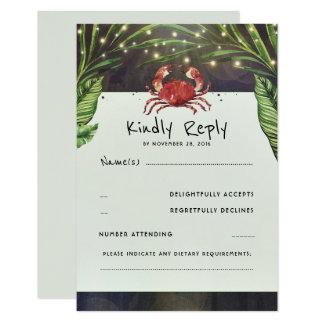 Cartão Caranguejo tropical do oceano que Wedding RSVP