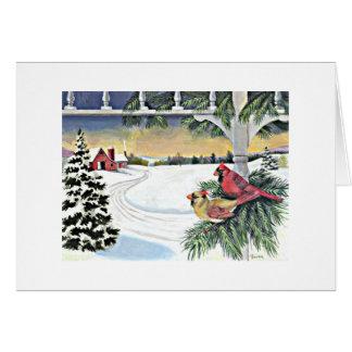 Cartão Cardeais no inverno