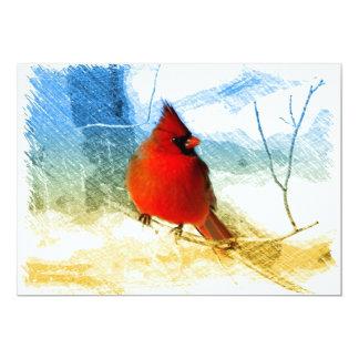 Cartão Cardeal vermelho do Natal primitivo do país