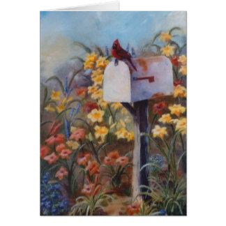 Cartão Cardinal esperando o correio