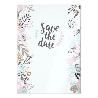"""Cartão Carga moderna florida de seu de boda """"Save date"""
