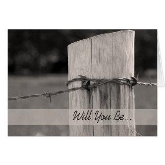 Cartão Cargo rural da cerca você será meu padrinho de
