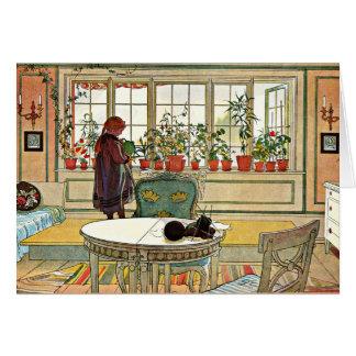 Cartão Carl Larsson - flores no Windowsill