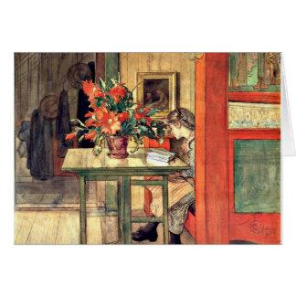Cartão Carl Larsson - leitura de Lisbeth