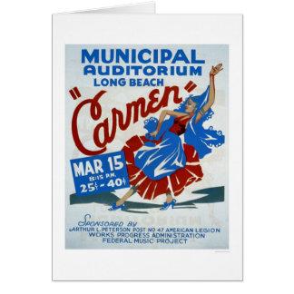 Cartão Carmen Long Beach WPA 1938
