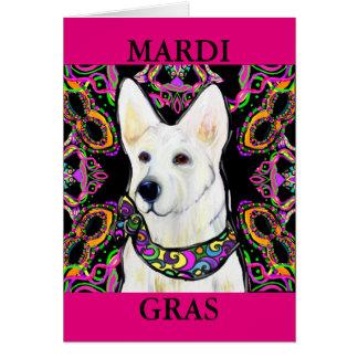 Cartão Carnaval branco do german shepherd