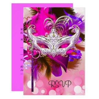 Cartão Carnaval cor-de-rosa roxo do preto da máscara da