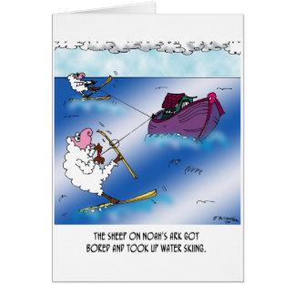 Cartão Carneiros no esqui de água da arca