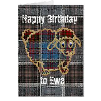 Cartão Carneiros no tartan. Feliz aniversario