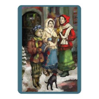 Cartão Carolers do Natal de Dickensian que pintam o
