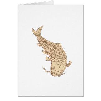 Cartão Carpa de Koi Nishikigoi que mergulha abaixo do