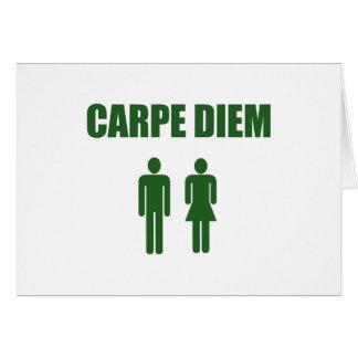 Cartão Carpe Diem (menino & menina verdes do texto)