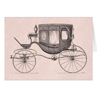 Cartão Carrinho antigo puxado a cavalo da carruagem dos