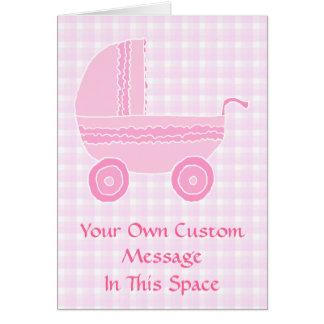 Cartão Carrinho de criança de bebê. Luz - rosa no guingão