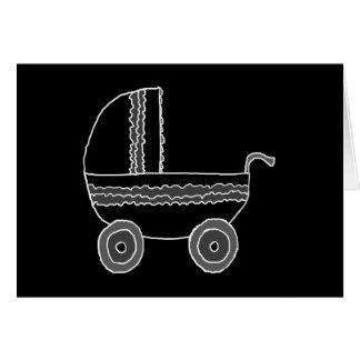 Cartão Carrinho de criança de bebê preto e branco