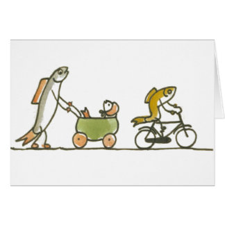 Cartão Carrinho e bicicleta dos peixes