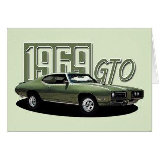 Cartão Carro 1969 clássico verde do músculo de Pontiac