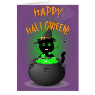 Cartão Carro bonito do Dia das Bruxas da bruxa do gato