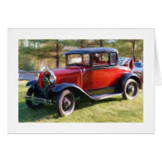 Cartão Carro clássico com grinalda do Natal