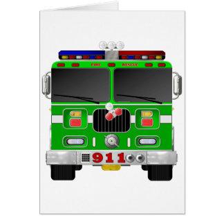 Cartão Carro de bombeiros do verde limão
