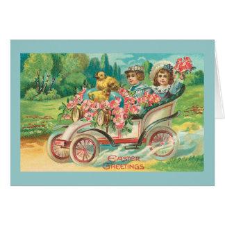 Cartão Carro de motor do vintage dos cumprimentos da