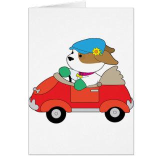 Cartão Carro do filhote de cachorro