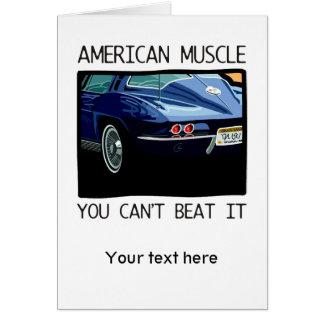Cartão Carro do músculo, clássico e azul americanos V8 do