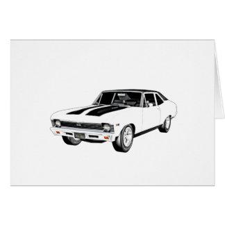 Cartão Carro do músculo de 1968 brancos