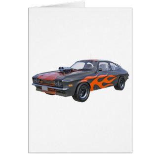 Cartão carro do músculo dos anos 70 com chama alaranjada