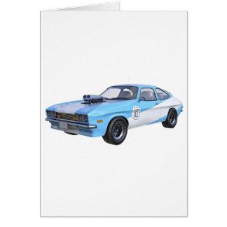 Cartão carro do músculo dos anos 70 em azul e em branco