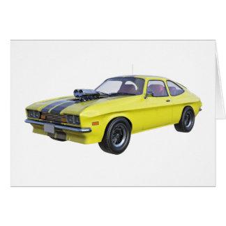 Cartão carro do músculo dos anos 70 no amarelo e no preto