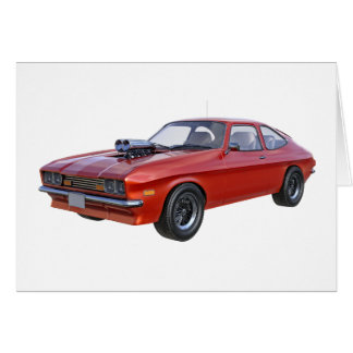 Cartão carro do músculo dos anos 70 no vermelho