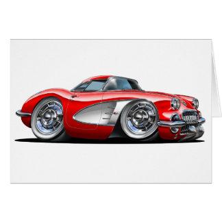 Cartão Carro do vermelho de Corveta