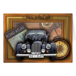 Cartão Carro do vintage 3D - pai do feliz aniversario