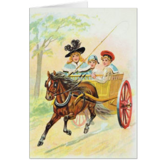 Cartão Carro puxado a cavalo