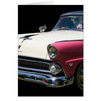 Cartão carro roxo branco do clássico do cromo do fairlane