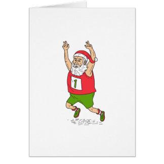 Cartão Carro Running da maratona do Natal do pai de Papai