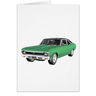 Cartão Carro verde do músculo 1968