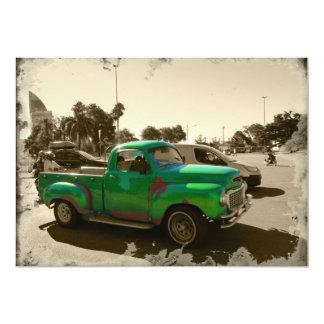 Cartão Carro verde velho