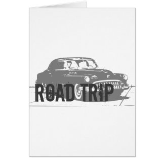 Cartão Carro vintage da viagem por estrada