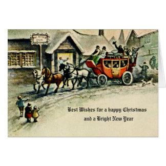 Cartão Carruagem antiga do ano novo do vintage do Natal