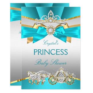 Cartão Carruagem azul da princesa chá de fraldas do ouro