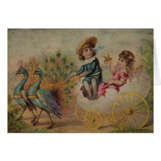 Cartão Carruagem da casca de ovo da páscoa tirada por