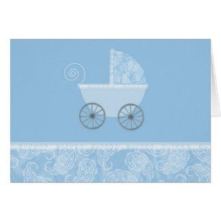 Cartão Carruagem do azul de Paisley