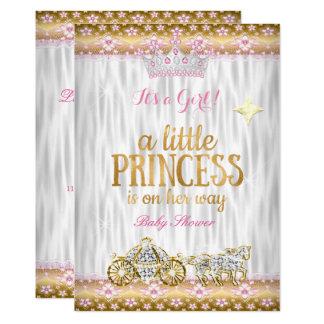 Cartão Carruagem do branco do ouro do rosa da princesa