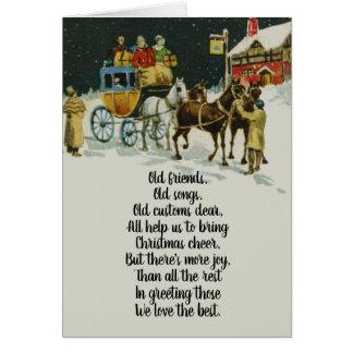 Cartão Carruagem do feriado do Natal do Victorian do
