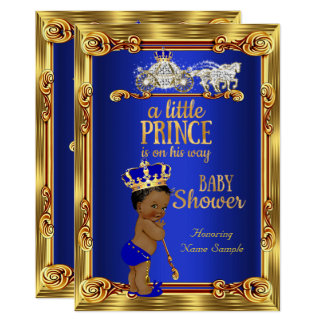 Cartão Carruagem do ouro dos azuis marinhos do príncipe
