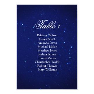 Cartão Carta azul do assento do casamento. Plano da mesa