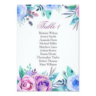 Cartão Carta azul e roxa do assento. Plano floral do